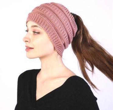 Ponytail Beanie Knit Hat