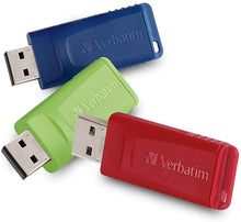 Laden Sie das Bild in den Galerie-Viewer, Verbatim 8GB Store 'n' Go USB Flash Drive - PC/Mac Compatible - 3pk - Red, Green, Blue - Atlas Computers & Electronics