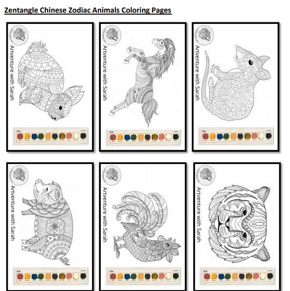 Watercolor Painting Page - Zantangle Chinese Zodiac Animals