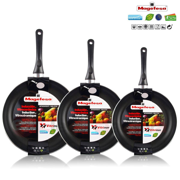 Magefesa Vitral-Set juego 3 Pans 18-20-24 cm aluminum stamping, induction, nonstick free from PFOA