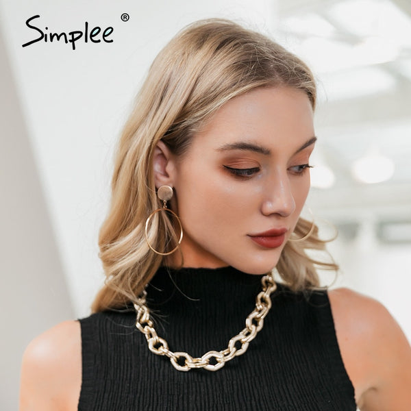 Simplee Trendy golden chain necklace women Fine jewelry statement necklace female choker Fashion party club ladies accessories