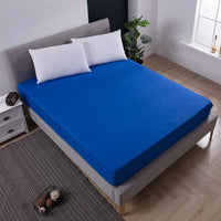 Solid Fitted Sheet Mattress Cover with all-around Elastic Rubber Band Bed Sheet