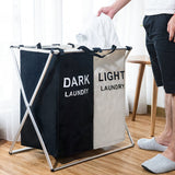 X-Shape Foldable Dirty Laundry Basket Organizer Printed Collapsible Three Grid Home Laundry Hamper Sorter Laundry Basket Large