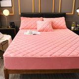 Plush Thicken Quilted Mattress Cover Warm Soft Crystal Velvet King Queen Quilted Bed Fitted Sheet Not Including Pillowcase