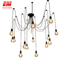 Black Spider Chandelier 1.2/1.5/2m Vintage Loft decor Adjustable E27 Edison Bulb Light Spider Ceiling Lamp Fixture Light ZDD0009