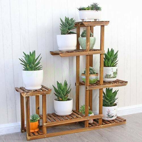 Yonntech Multi Tier Flower Plant Holder Stand Rack Wood Shelves balcony flower rack Plant stand Garden Bonsai Display Shelf