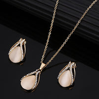 Fashion Golden Plated Opal Jewelry Sets For Woman Cubic Zirconia Water Drop Necklace Pendant Earrings Set Bridal Wedding Gift