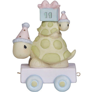 "Precious Moments, Birthday Gifts, ""Take Your Time It's Your Birthday"", Birthday Train Age 11, Bisque Porcelain Figurine, 142031"