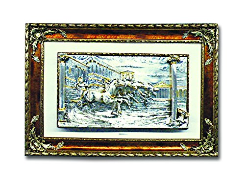 Gladiator Silver Art in a Wooden Frame Made in Italy