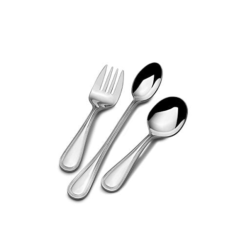 Mikasa 3-Piece Stainless Steel Baby Beaded Feeding Set