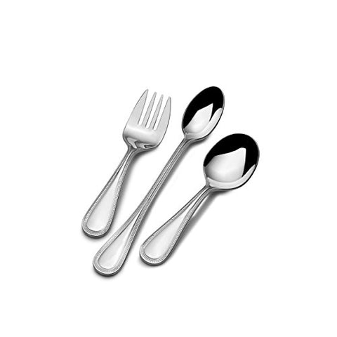 Mikasa 5164080 Beaded 3-Piece Stainless Steel Baby Feeding Set