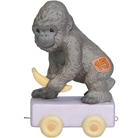 Precious Moments 142035 Birthday Gifts, It's Your Birthday Go Bananas, Birthday Train Age 15, Bisque Porcelain Figurine