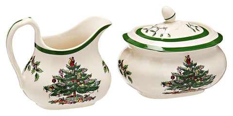Spode Christmas Tree Cream & Sugar Set