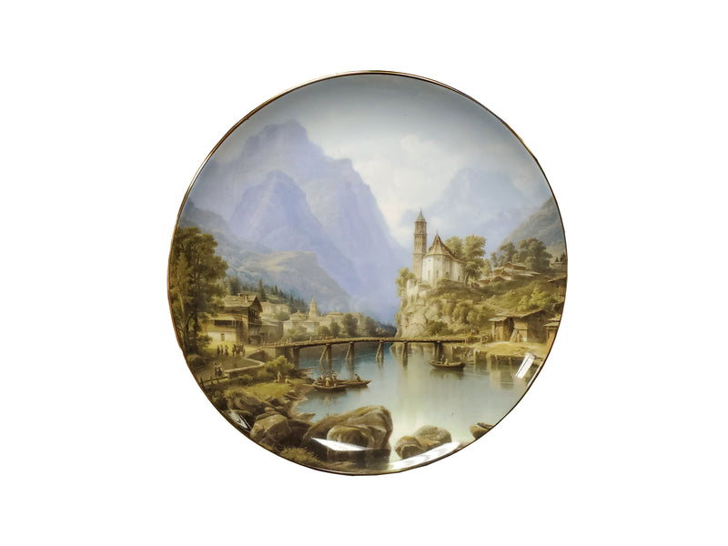 "Victorian Decorative Castle Plate 8"" Bone China"