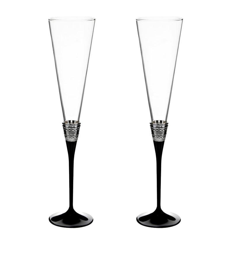 Wedgwood With Love Noir Toasting Flutes Pair of Crystal Stems