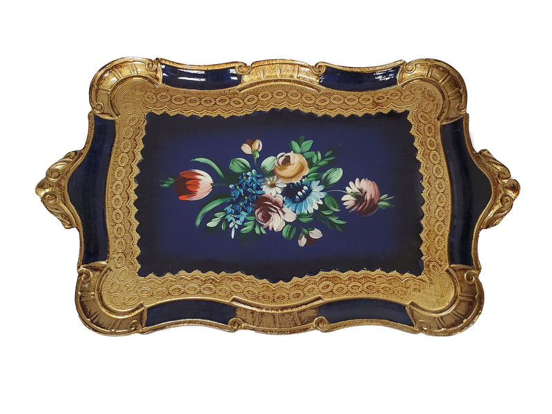 "Florentine Tray Wood Hand Painted in Firenze Italy 21""L x 14""W"