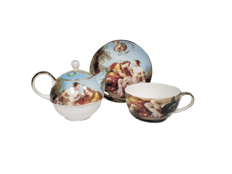 Victorian Tea For One 4 piece Set Bone China