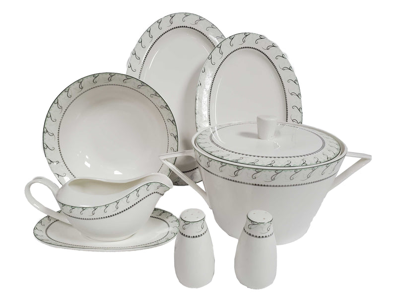 Success Dinnerware 86-Piece Set Maria Green and Platinum Bone China Body