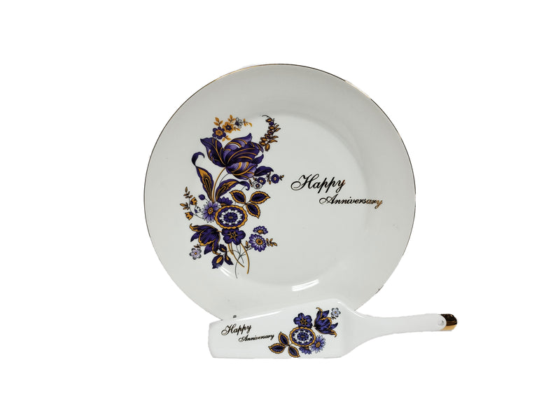 Happy Anniversary Cake Platter & Serving Knife Porcelain 10.75""