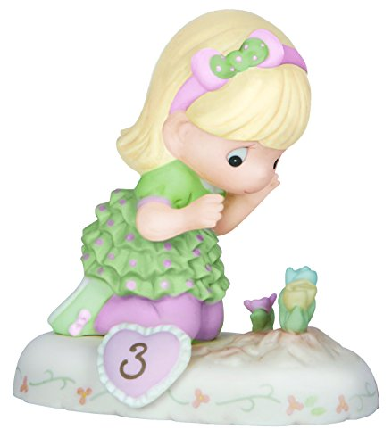 "Precious Moments 142012 Birthday Gifts, Growing in Grace, Age 3"", Bisque Porcelain Figurine, Blonde Girl"
