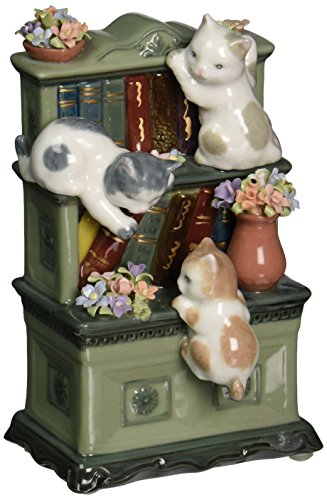 CG 80095 3 Spotted Kittens Climbing on Gray Bookcase with Flowers Statue