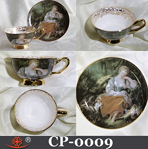 Cup & Saucer Victorian Style Sleeping Shepherdess Bone China Made in Canada
