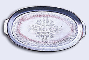 Italian Florentine Wooden Serving Tray – Silver Oval 42cm