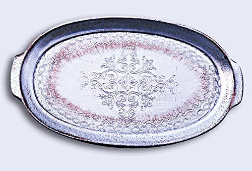 Pescaressi Italian Florentine Wooden Serving Tray – Silver Oval 42cm
