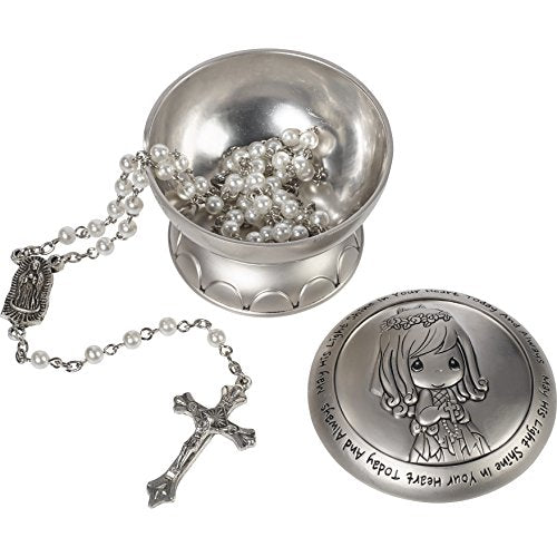 Precious Moments 172409 May His Light Shine in Your Heart Today & Always Girl First Communion Rosary & Silver Zinc Alloy Rosary Box, Multicolor