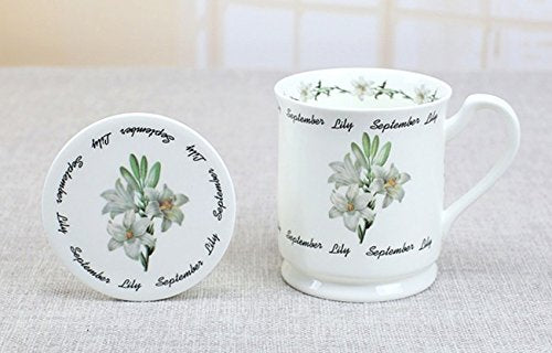 MUG SEPTEMBER LILY FLOWER BONE CHINA WITH COVER
