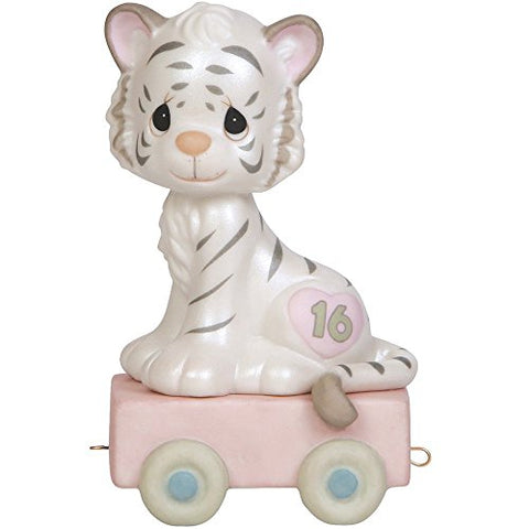 Precious Moments 142036 Birthday Gifts, 16 and Feline Fine, Birthday Train Age 16, Bisque Porcelain Figurine