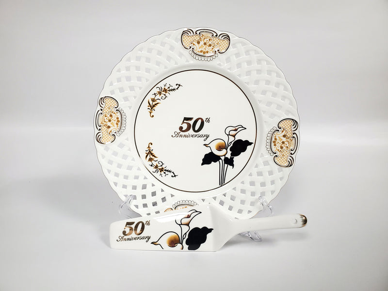 50th Anniversary Cake Platter and Serving Knife Set