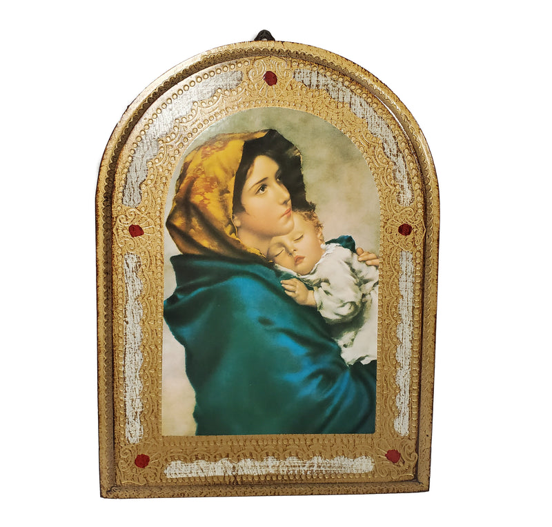 "Madonna Wall Placard 13"" x 10"" Florentine Wood Made in Italy"