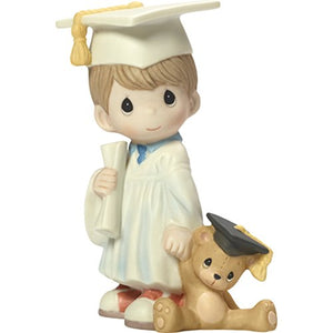 Precious Moments 173015 I Did It Graduation Boy with Diploma & Teddy Bear Bisque Porcelain Home Decor Collectible Figurine, Multicolor