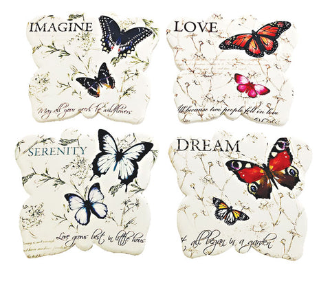 "Butterfly Coaster Set of 4 Ceramic with Cork backing 4.75"" x 4.25"" x .3"""