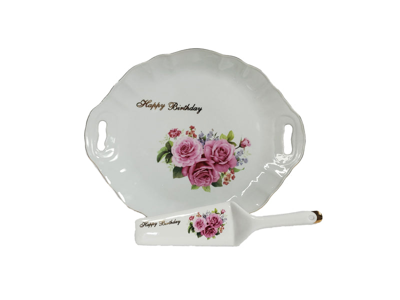 Happy Birthday Cake Platter & Serving Knife