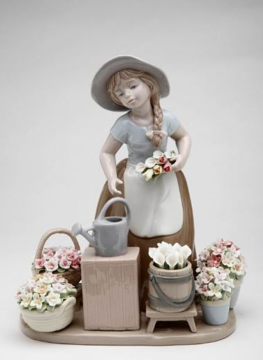 Cosmos Girl With Flower Baskets 9""