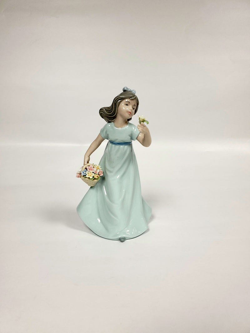 Cosmos Girl With Flowers Figurine 6""