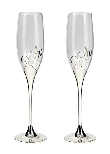 25TH Anniversary Champagne Flutes 2 Piece Silver Plated Metal Base