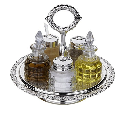 Queen Anne Cruet Cady on Revolving Stand Silver-Plated
