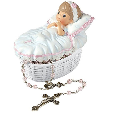 Precious Moments 153406 Baptism Gift, Baptized in His Name Resin Box with Rosary for Girl