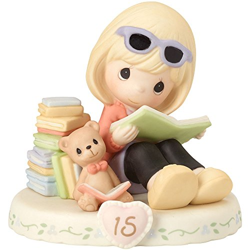 "Precious Moments 162014 Blonde Girl Growing in Grace, Age 15"" Birthday Bisque Porcelain Figurine"
