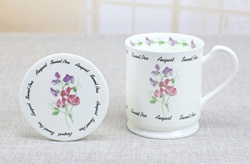 MUG AUGUST SWEET PEA FLOWER BONE CHINA WITH COVER