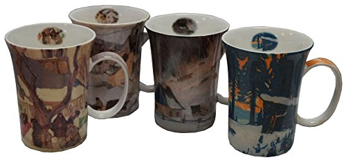 McIntosh Clarence Gagnon 4 Mugs Set Multicolors