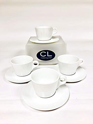 Cappuccino Set of 4 Cups and 4 Saucers in White