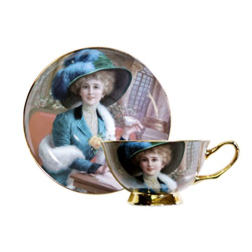 World Famous Art Collection Portrait Series Tea Cup & Saucer Set (Emile vernon Elegant Lady)