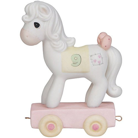 Precious Moments 142029 Birthday Gifts, Being Nine is Just Divine, Birthday Train Age 9, Bisque Porcelain Figurine