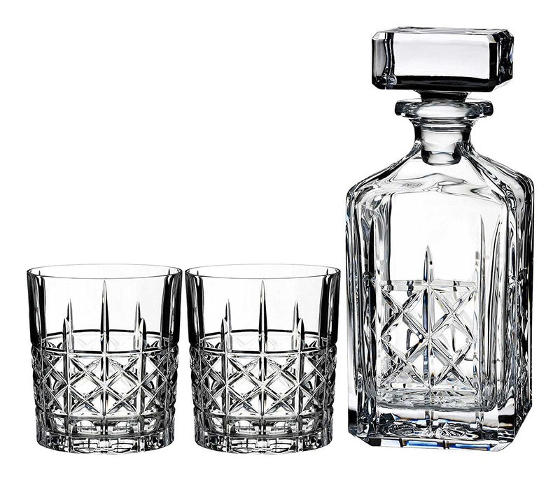 Waterford Brady Crystal Decanter + 2 Glasses 3 Piece Set