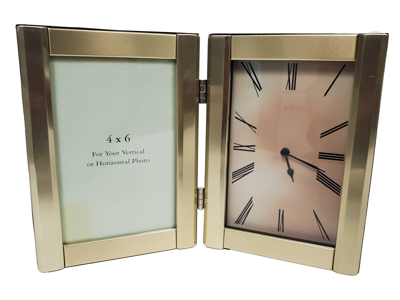 "Clock & Photo Frame 4"" x 6"" Gold Double Panel"