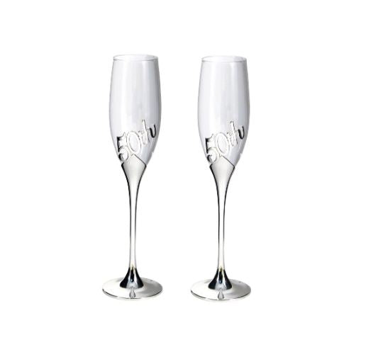 50th Anniversary Toasting Flute Pair